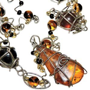 Modernist Necklace Silver Metal Caged Amber